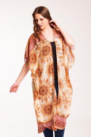 Kimono peach lung cu imprimeu floral