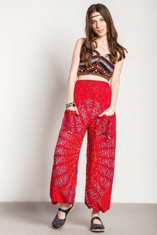 Pantaloni rosii Mandala cu buzunare