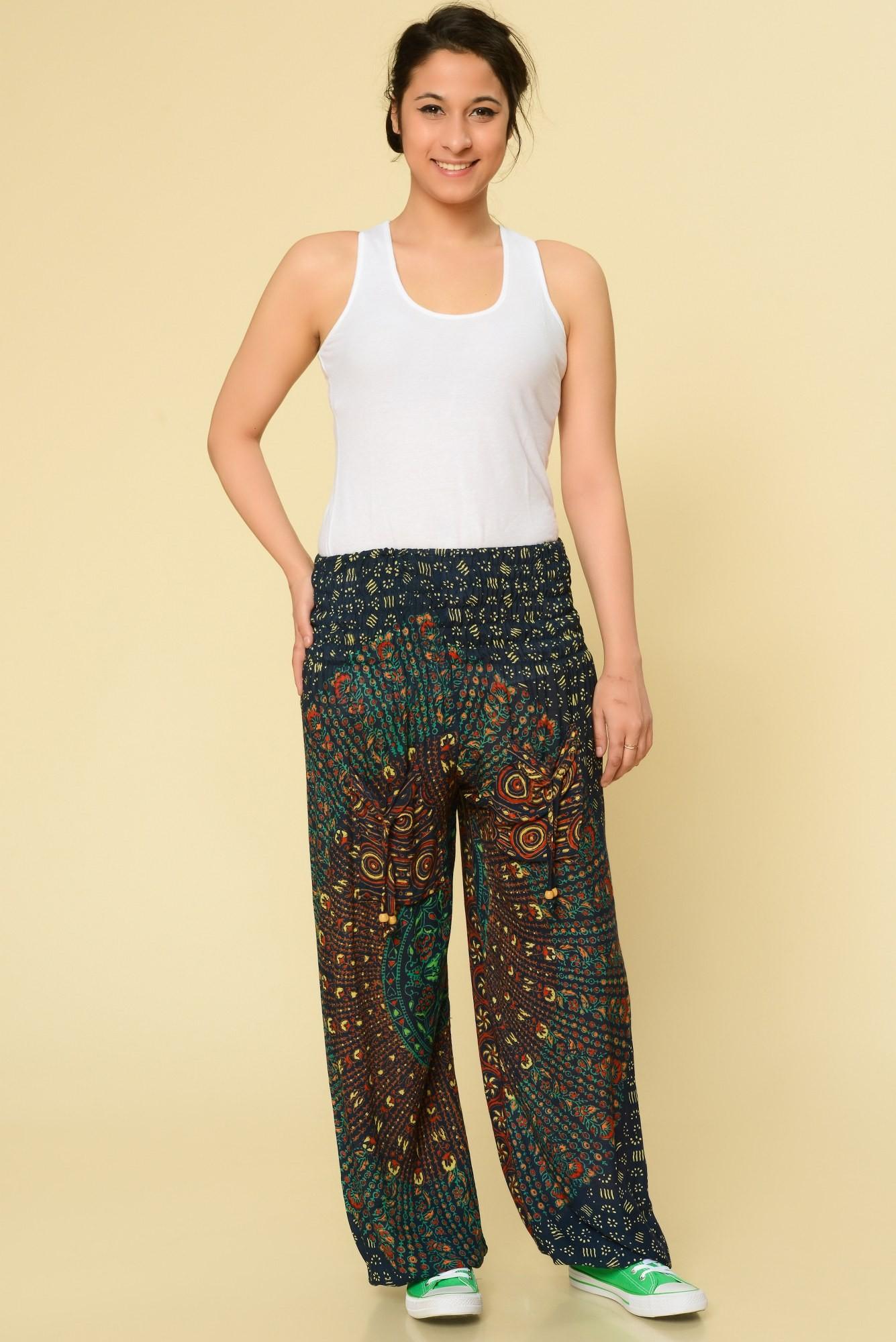 Pantaloni bleumarin Mandala cu buzunare