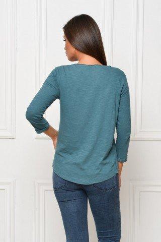 Bluza verde casual cu broderie aplicata