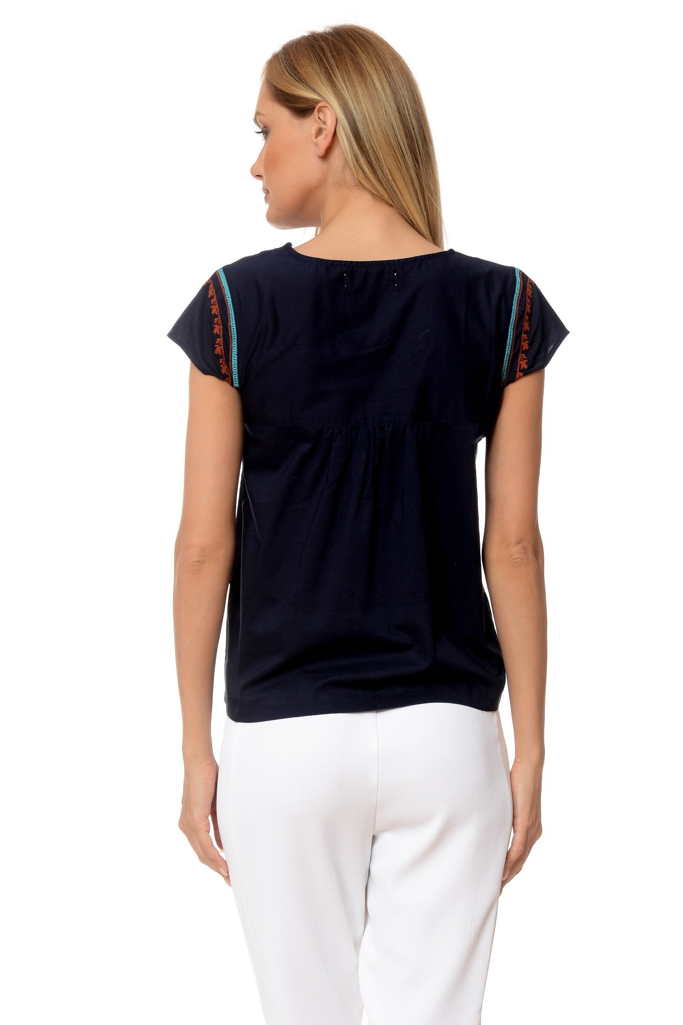 Bluza bleumarin Maxy din bumbac cu maneca scurta