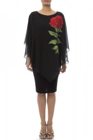 Rochie de seara neagra cu trandafir