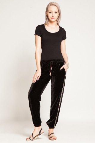 Pantaloni negri de catifea cu aplicatii de oglinda