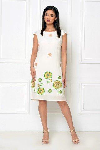Rochie de zi vascoza cu broderie florala verde