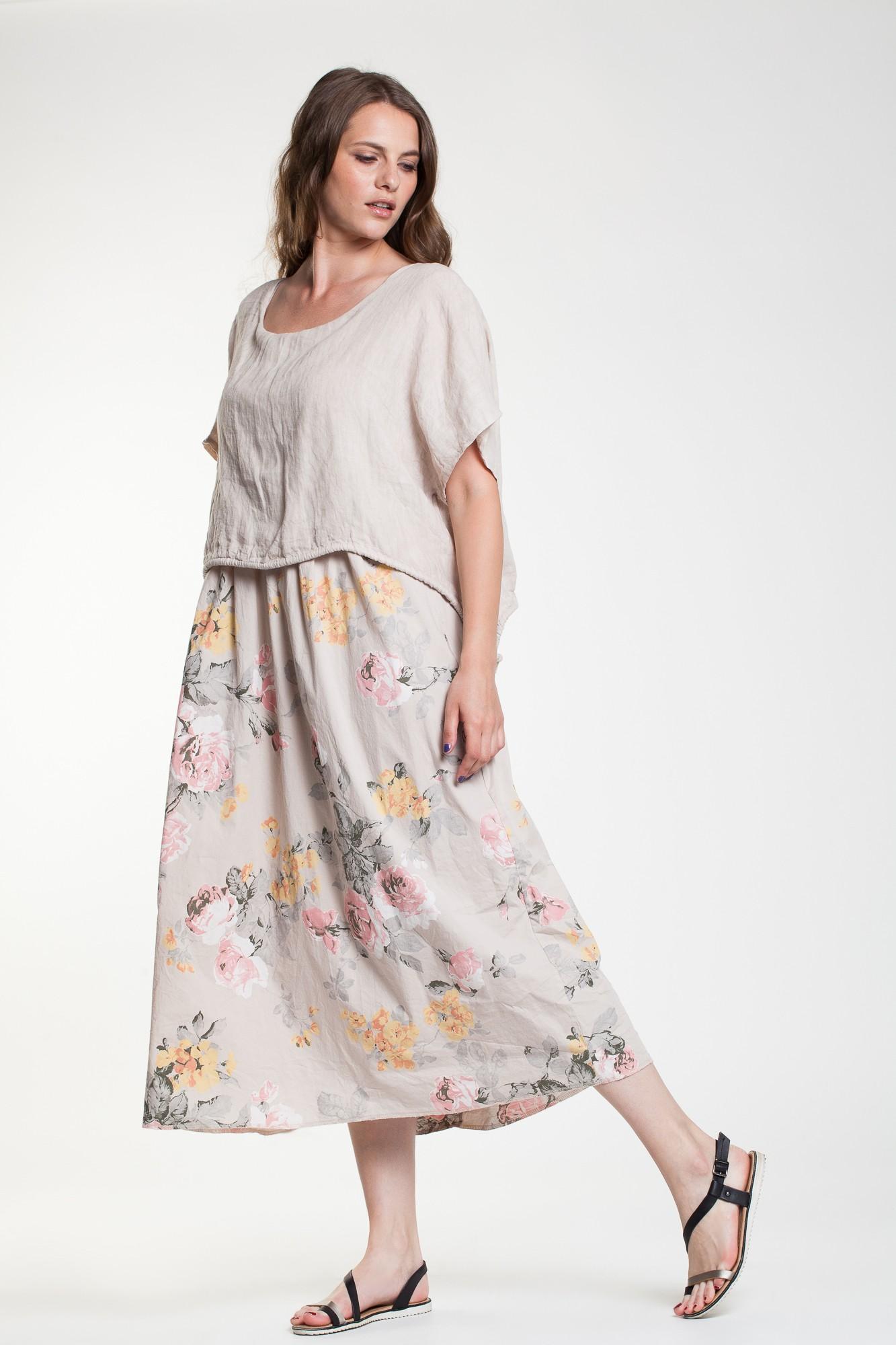 Rochie beige Jasmine fronsata din in si poplin cu imprimeu floral