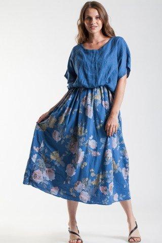 Rochie fronsata albastru denim Jasmin cu imprimeu floral din in si poplin