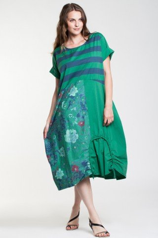 Rochie verde Nubia din poplin cu imprimeu floral, dungi si snur reglabil