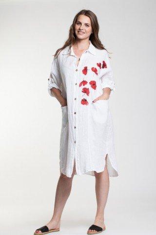 Rochie alba din in cu nasturi si maci imprimati