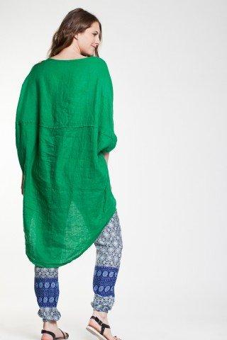 Tunica verde Natasha din in cu maneca raglan