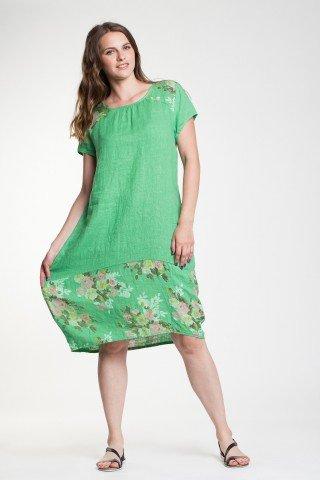 Rochie verde absint Gloria din in cu imprimeu floral