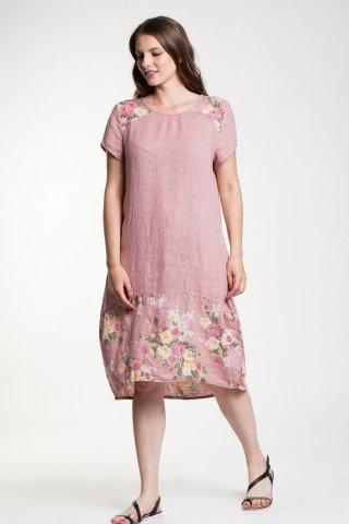 Rochie in roz prafuit Gloria cu imprimeu floral