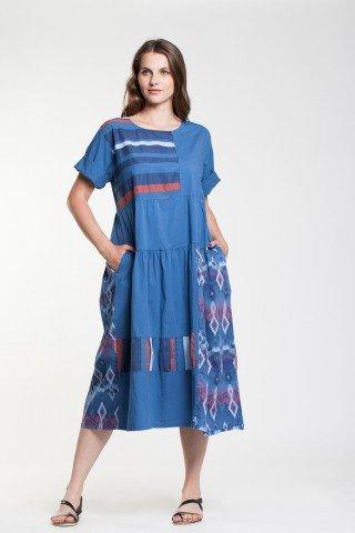 Rochie albastra Cleo cu imprimeu inspiratie etnica