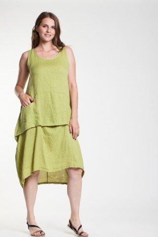 Rochie verde fistic Emma din in cu buzunare