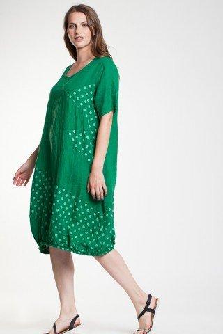 Rochie in verde Samira tip balon cu buline imprimate
