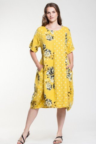 Rochie in galben tip balon cu imprimeu floral si buline