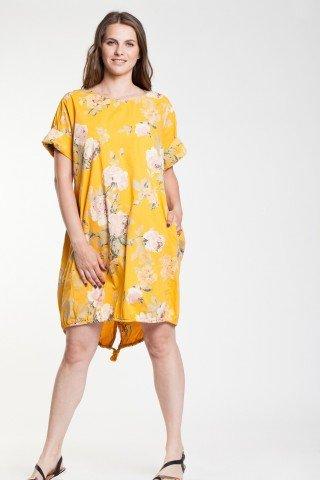 Rochie galben soare tip balon din poplin cu imprimeu floral