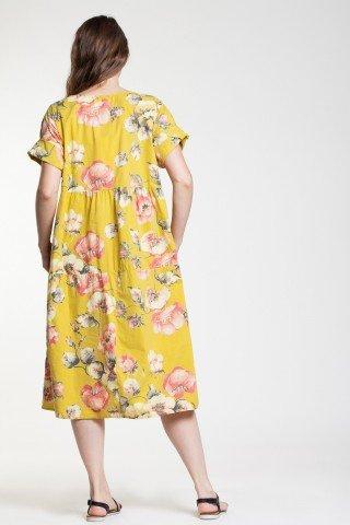 Rochie galben imperial din poplin cu imprimeu floral si buzunare