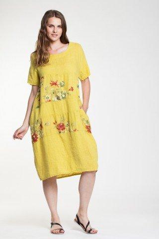 Rochie galben lamaie Sasha din in cu imprimeu floral