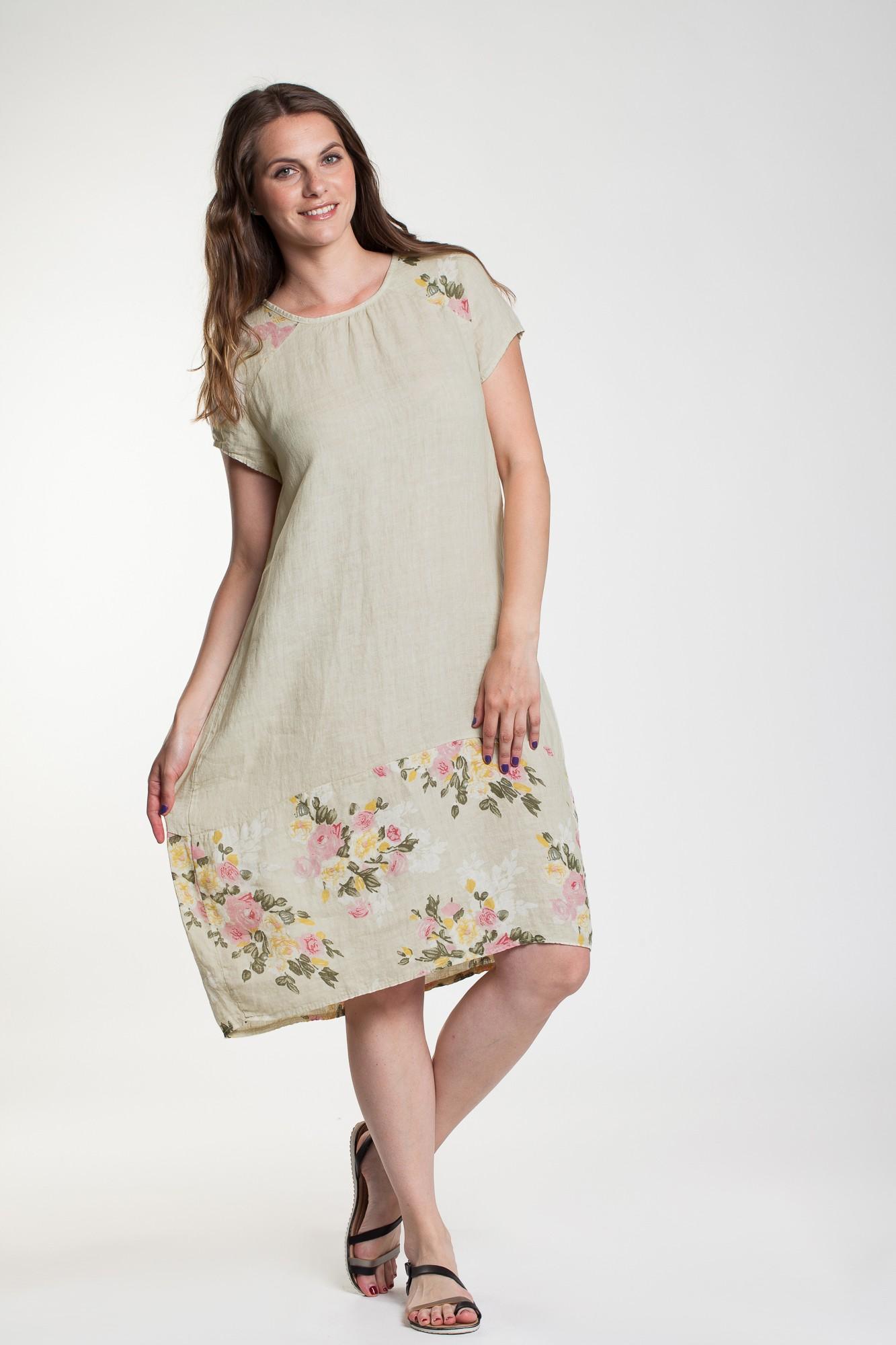 Rochie beige Gloria din in cu imprimeu floral