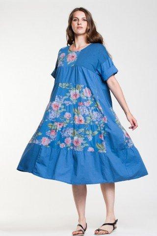 Rochie albastra Sabina din bumbac cu imprimeu floral