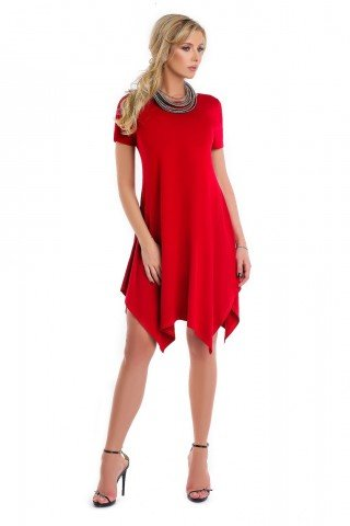 Rochie rosie Natalee asimetrica