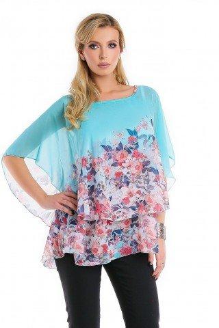 Bluza bleu Natalee din voal cu imprimeu floral