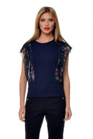 Bluza bleumarin din vascoza cu aplicatie din voal imprimat