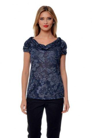 Bluza bleumarin din vascoza Natalee cu imprimeu floral gri