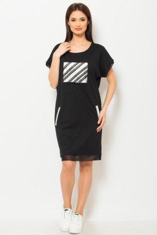 Rochie de zi neagra cu buzunare si aplicatie