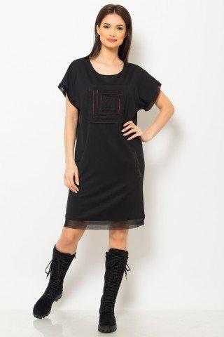 Rochie de zi neagra cu buzunare si aplicatie rosu-negru