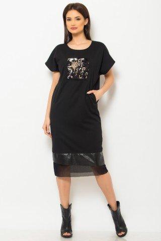 Rochie de zi neagra cu buzunare si aplicatie din paiete cameleon