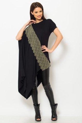 Tunica lunga neagra asimetrica cu insertie din dantela khaki