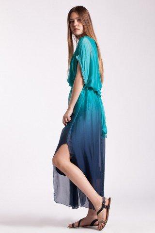 Rochie degrade turcoaz-bleumarin lunga Adela cu paiete la maneci