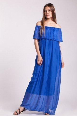 Rochie albastra lunga Galia din matase cu volan