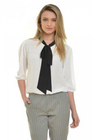 Bluza din voal alb cu funda neagra Eranthe