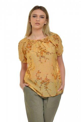 Bluza din in galbena cu imprimeu floral Eranthe