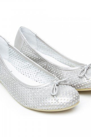 Balerini din piele perforata argintii Cat by Prego!