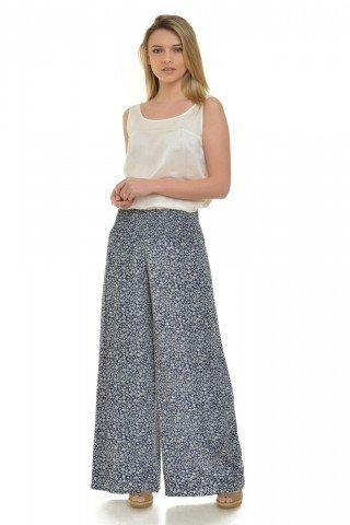 Pantaloni evazati cu imprimeu floral Eranthe