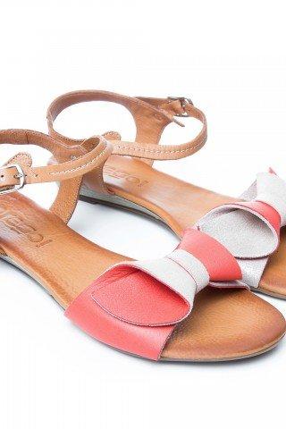 Sandale din piele corai si auriu Cat by Prego!