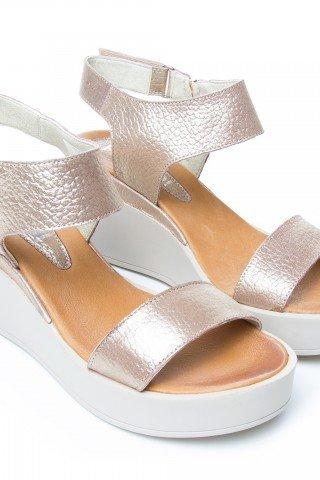 Sandale din piele aurie cu platforma Cat by Prego!
