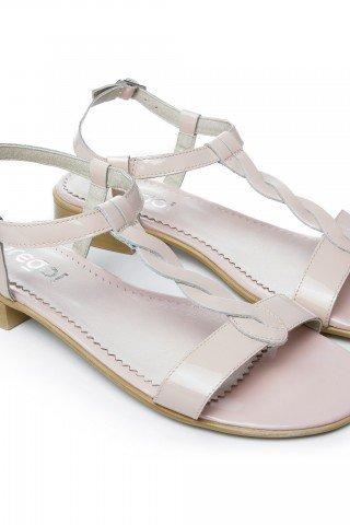 Sandale de piele lacuita nude Cat by Prego!