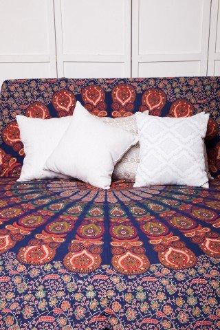 Cuvertura bleumarin mandala cu imprimeu portocaliu-dubla