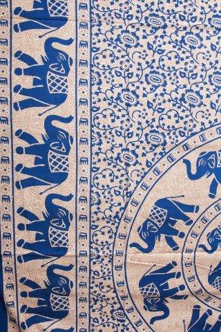 Cuvertura crem cu imprimeu albastru si bordura -single
