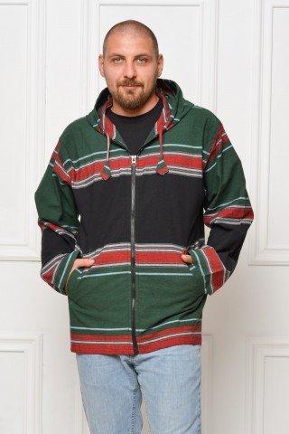 Jacheta de bumbac cu gluga verde - negru