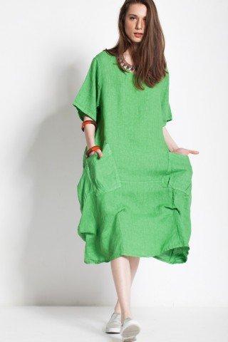 Rochie fronsata verde din in