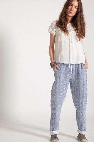 Pantaloni din in cu dungi bleu si albe Cleo