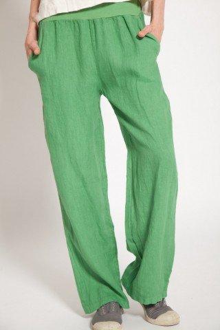 Pantaloni din in verzi Cleo