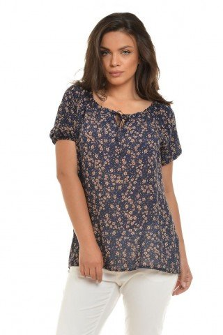 Bluza gen ie bleumarin cu imprimeu floral Eranthe