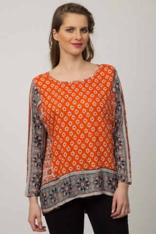 Bluza portocalie Suntall din vascoza imprimata