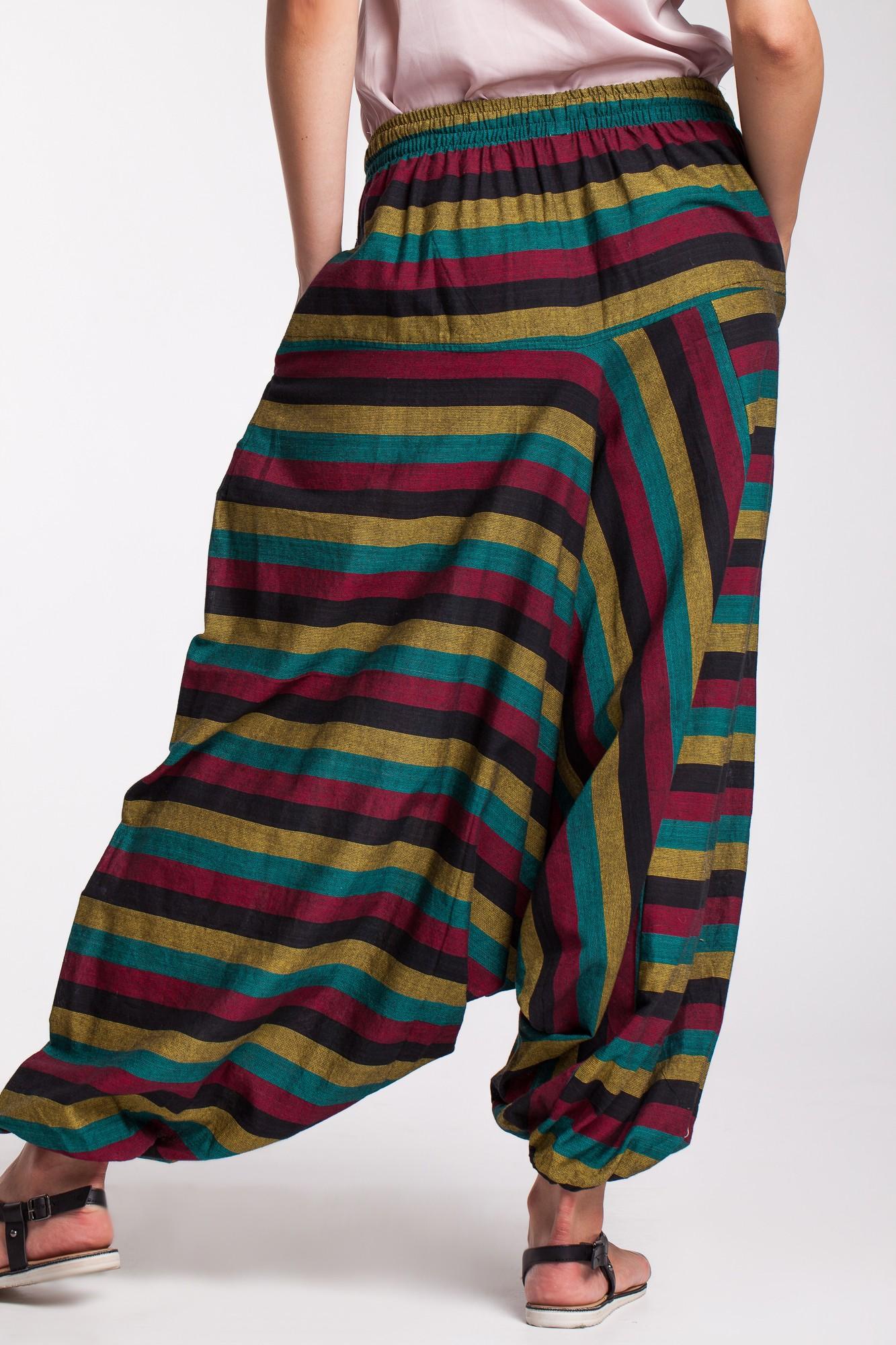 Salvari unisex din bumbac cu dungi multicolore si snur reglabil Rasta